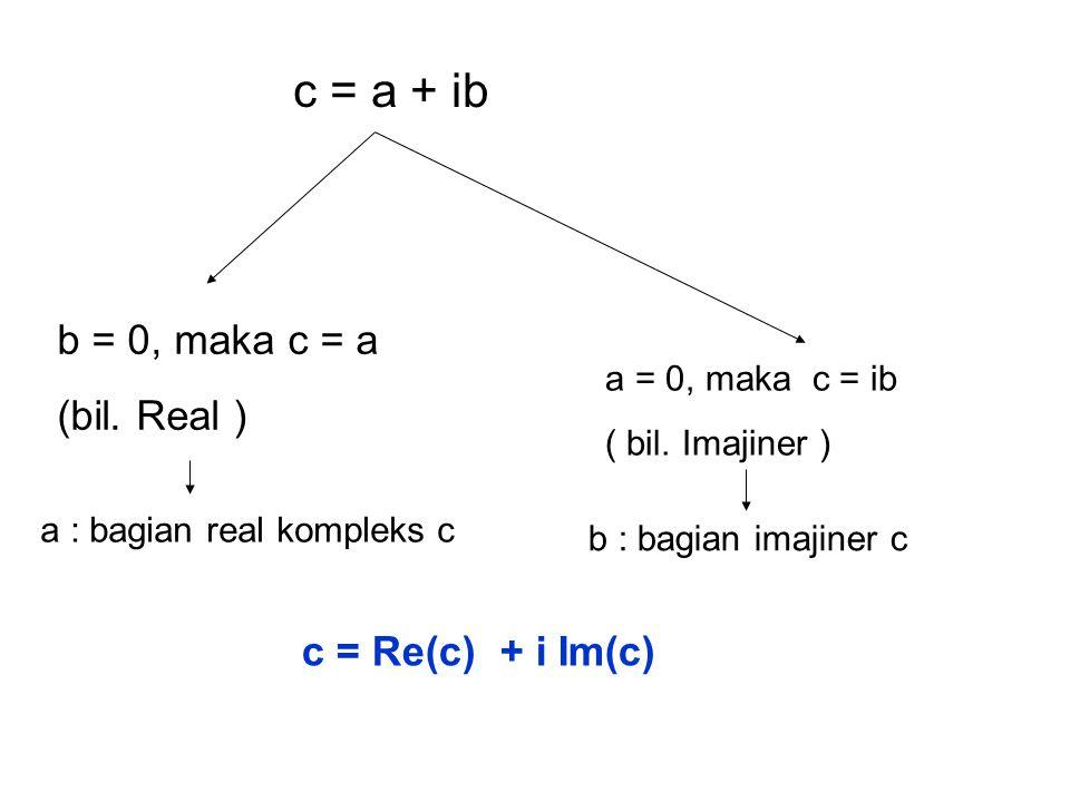 c = a + ib b = 0, maka c = a (bil.Real ) a = 0, maka c = ib ( bil.