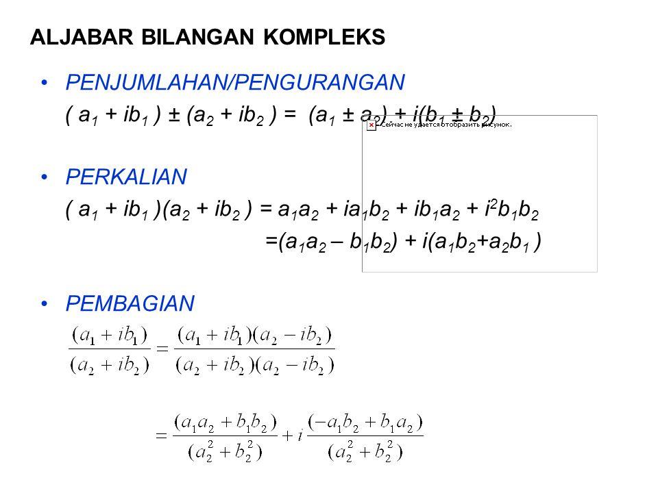 ALJABAR BILANGAN KOMPLEKS PENJUMLAHAN/PENGURANGAN ( a 1 + ib 1 ) ± (a 2 + ib 2 ) = (a 1 ± a 2 ) + i(b 1 ± b 2 ) PERKALIAN ( a 1 + ib 1 )(a 2 + ib 2 ) = a 1 a 2 + ia 1 b 2 + ib 1 a 2 + i 2 b 1 b 2 =(a 1 a 2 – b 1 b 2 ) + i(a 1 b 2 +a 2 b 1 ) PEMBAGIAN