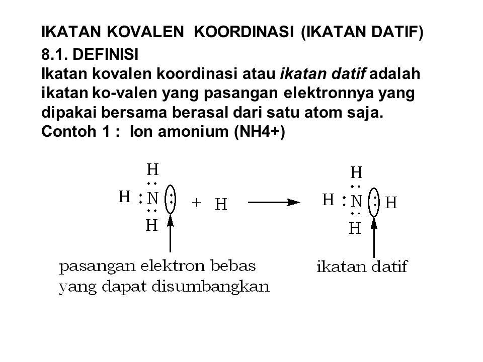 IKATAN KOVALEN KOORDINASI (IKATAN DATIF) 8.1. DEFINISI Ikatan kovalen koordinasi atau ikatan datif adalah ikatan ko-valen yang pasangan elektronnya ya