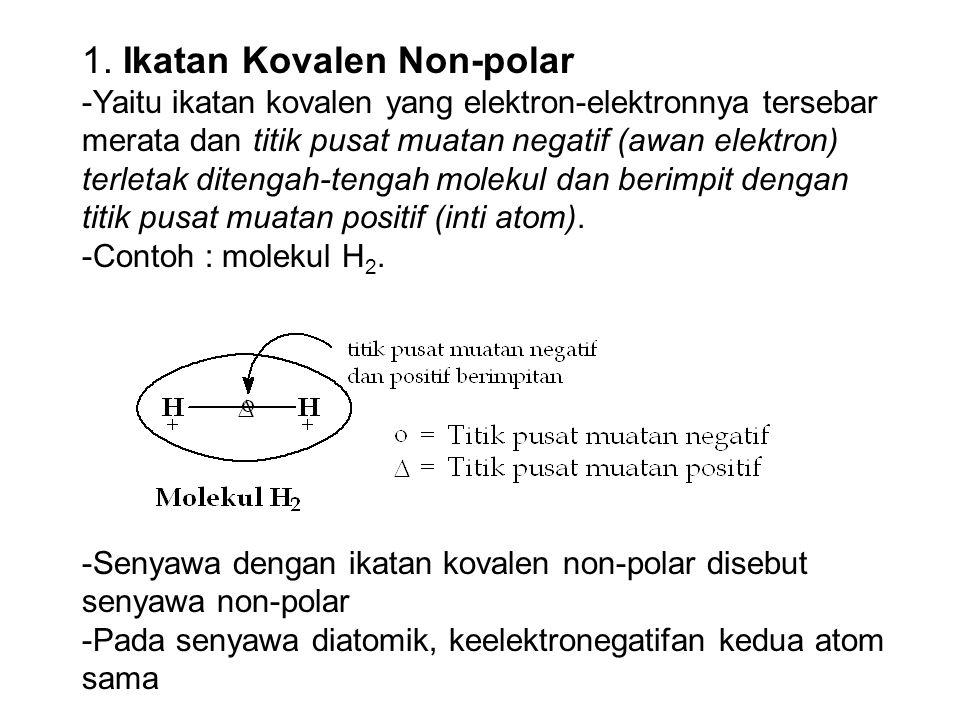 1. Ikatan Kovalen Non-polar -Yaitu ikatan kovalen yang elektron-elektronnya tersebar merata dan titik pusat muatan negatif (awan elektron) terletak di