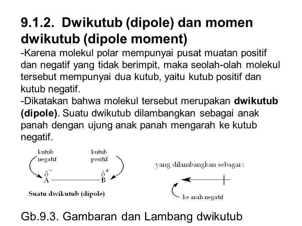 9.1.2. Dwikutub (dipole) dan momen dwikutub (dipole moment) -Karena molekul polar mempunyai pusat muatan positif dan negatif yang tidak berimpit, maka