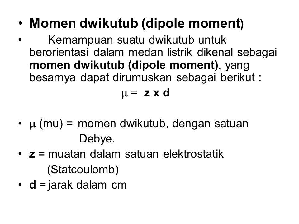 Momen dwikutub (dipole moment ) Kemampuan suatu dwikutub untuk berorientasi dalam medan listrik dikenal sebagai momen dwikutub (dipole moment), yang b