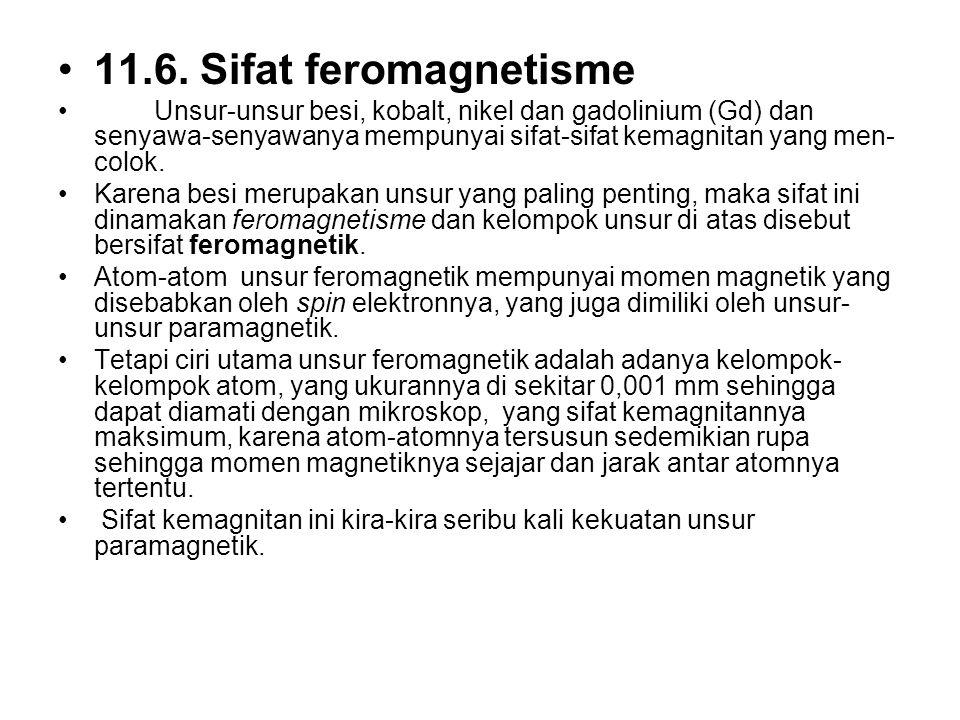 11.6. Sifat feromagnetisme Unsur-unsur besi, kobalt, nikel dan gadolinium (Gd) dan senyawa-senyawanya mempunyai sifat-sifat kemagnitan yang men- colok