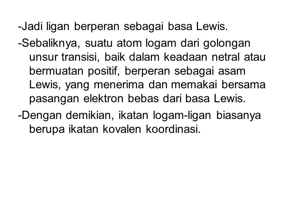 -Jadi ligan berperan sebagai basa Lewis. -Sebaliknya, suatu atom logam dari golongan unsur transisi, baik dalam keadaan netral atau bermuatan positif,