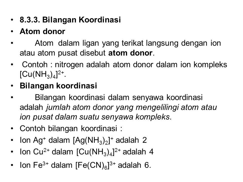 8.3.3. Bilangan Koordinasi Atom donor Atom dalam ligan yang terikat langsung dengan ion atau atom pusat disebut atom donor. Contoh : nitrogen adalah a