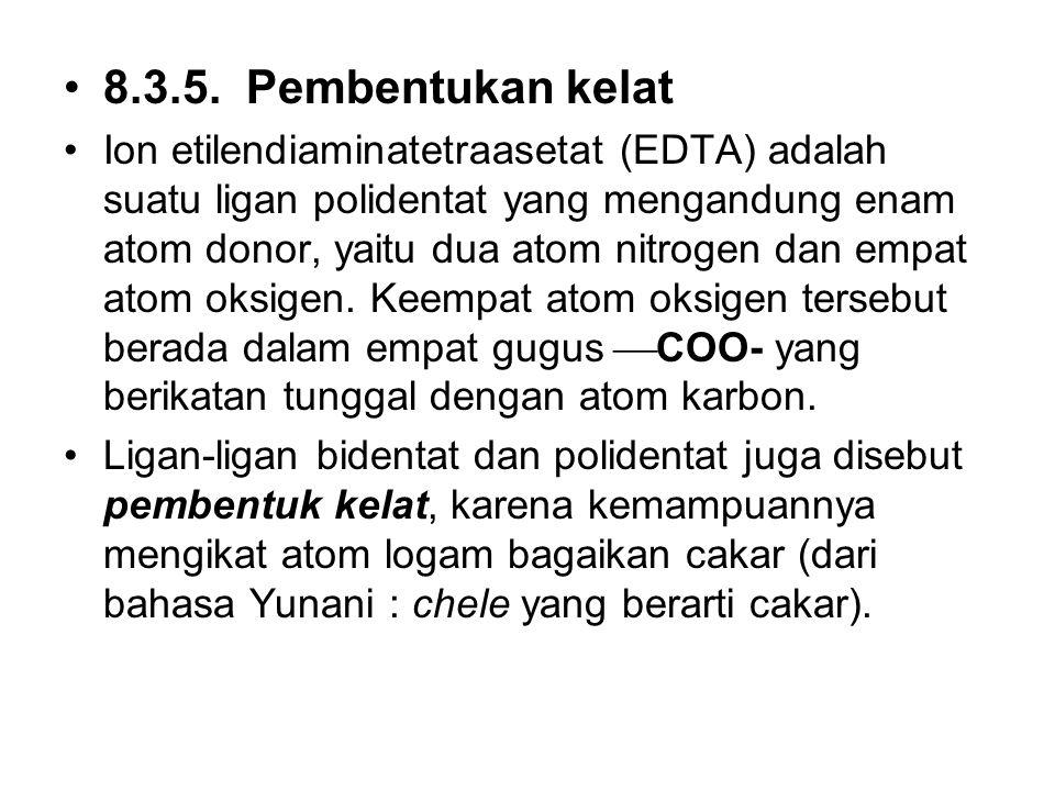 8.3.5. Pembentukan kelat Ion etilendiaminatetraasetat (EDTA) adalah suatu ligan polidentat yang mengandung enam atom donor, yaitu dua atom nitrogen da