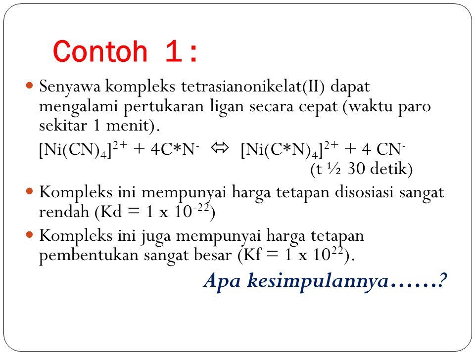 Contoh 1 : Senyawa kompleks tetrasianonikelat(II) dapat mengalami pertukaran ligan secara cepat (waktu paro sekitar 1 menit).