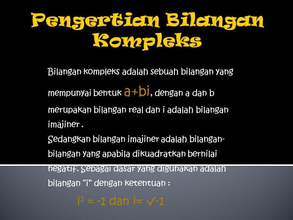 Bilangan kompleks adalah sebuah bilangan yang mempunyai bentuk a+bi, dengan a dan b merupakan bilangan real dan i adalah bilangan imajiner.