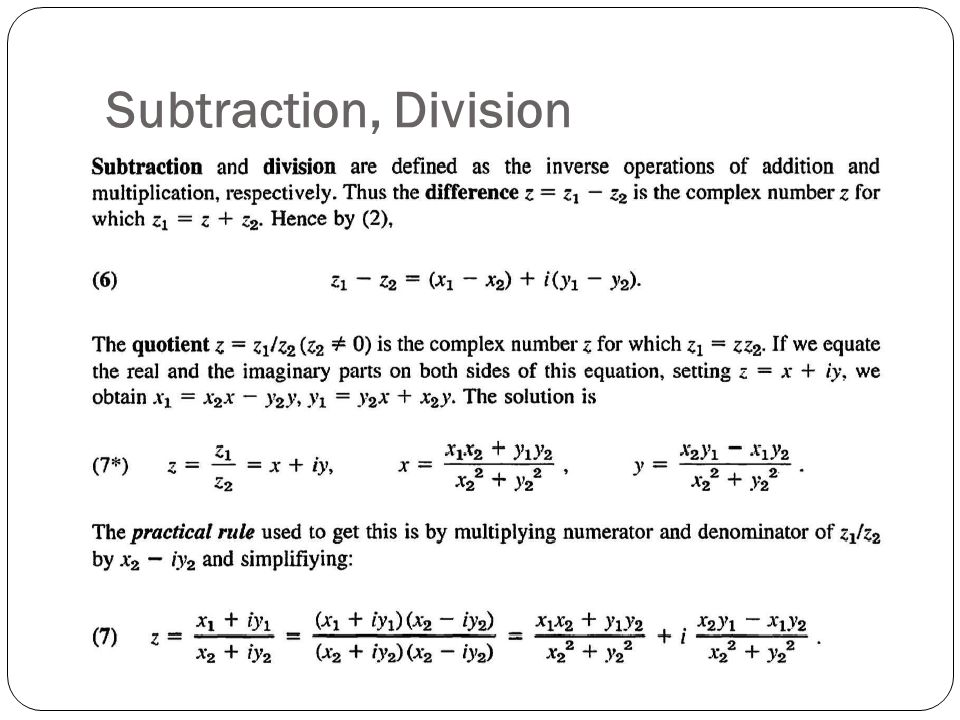 Subtraction, Division