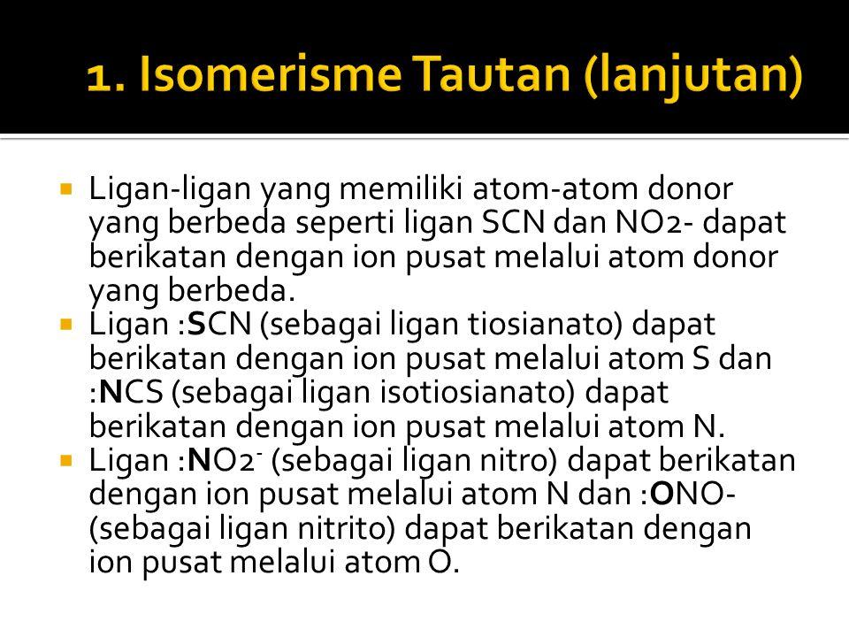  Ligan-ligan yang memiliki atom-atom donor yang berbeda seperti ligan SCN dan NO2- dapat berikatan dengan ion pusat melalui atom donor yang berbeda.