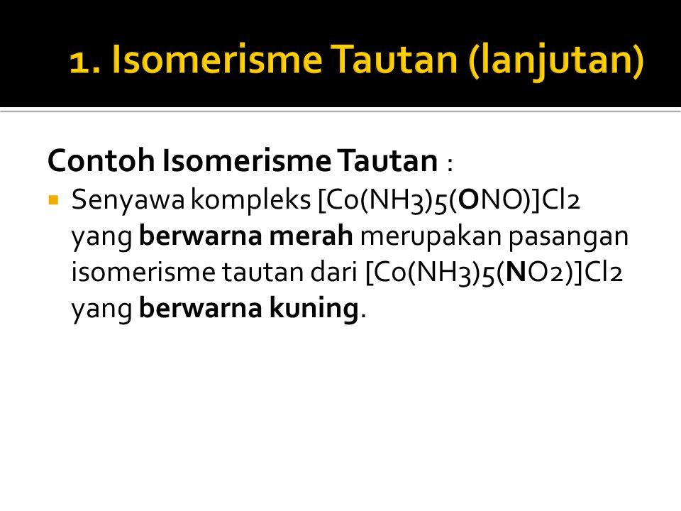 Contoh Isomerisme Tautan :  Senyawa kompleks [Co(NH3)5(ONO)]Cl2 yang berwarna merah merupakan pasangan isomerisme tautan dari [Co(NH3)5(NO2)]Cl2 yang
