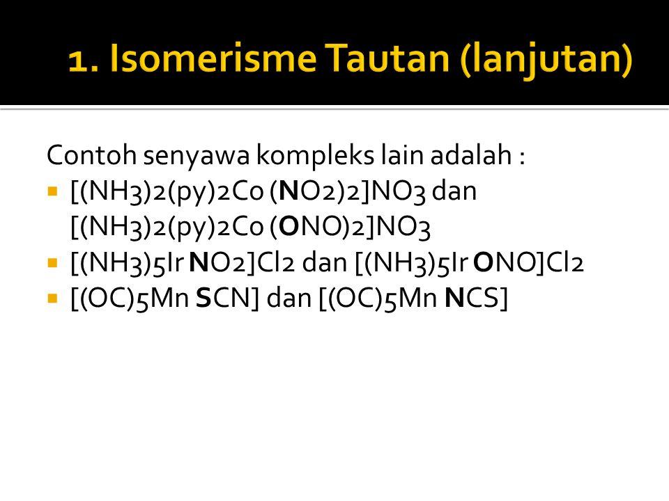 Contoh senyawa kompleks lain adalah :  [(NH3)2(py)2Co (NO2)2]NO3 dan [(NH3)2(py)2Co (ONO)2]NO3  [(NH3)5Ir NO2]Cl2 dan [(NH3)5Ir ONO]Cl2  [(OC)5Mn S