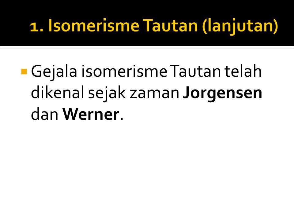  Gejala isomerisme Tautan telah dikenal sejak zaman Jorgensen dan Werner.