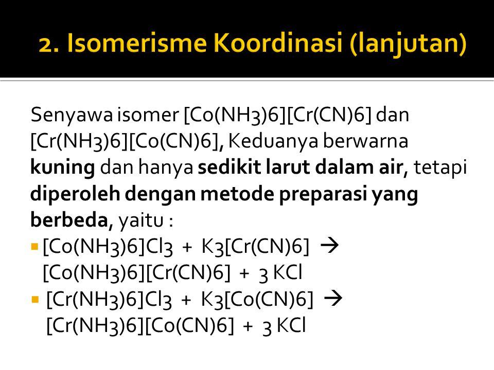 Senyawa isomer [Co(NH3)6][Cr(CN)6] dan [Cr(NH3)6][Co(CN)6], Keduanya berwarna kuning dan hanya sedikit larut dalam air, tetapi diperoleh dengan metode