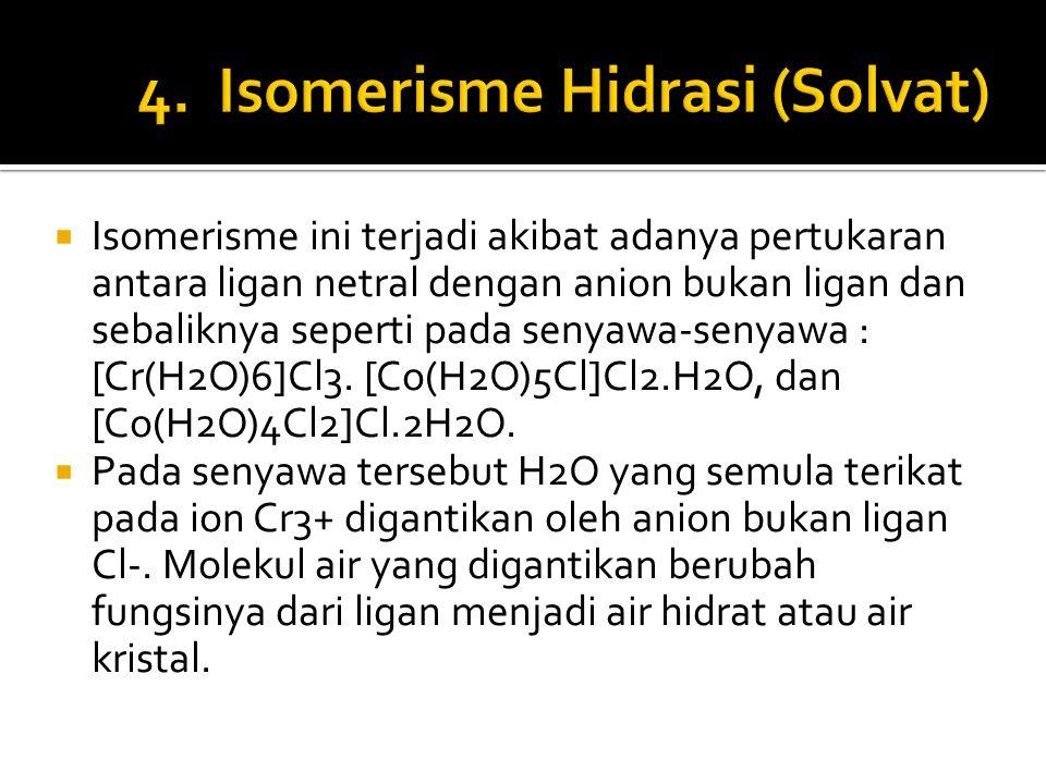  Isomerisme ini terjadi akibat adanya pertukaran antara ligan netral dengan anion bukan ligan dan sebaliknya seperti pada senyawa-senyawa : [Cr(H2O)6