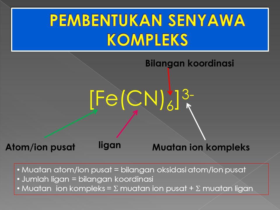 [Fe(CN) 6 ] 3- Atom/ion pusat ligan Muatan ion kompleks Bilangan koordinasi Muatan atom/ion pusat = bilangan oksidasi atom/ion pusat Jumlah ligan = bi