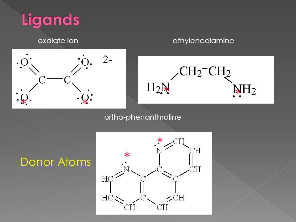 oxalate ionethylenediamine ortho-phenanthroline Donor Atoms ** * * * *