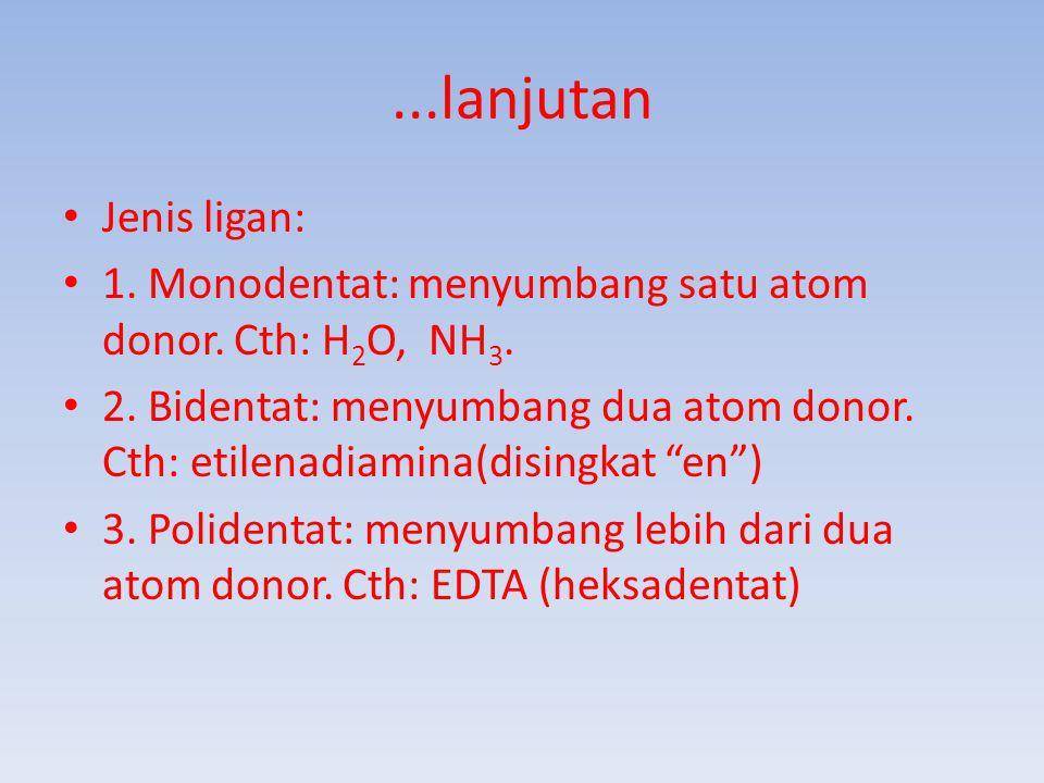 ...lanjutan Jenis ligan: 1.Monodentat: menyumbang satu atom donor.