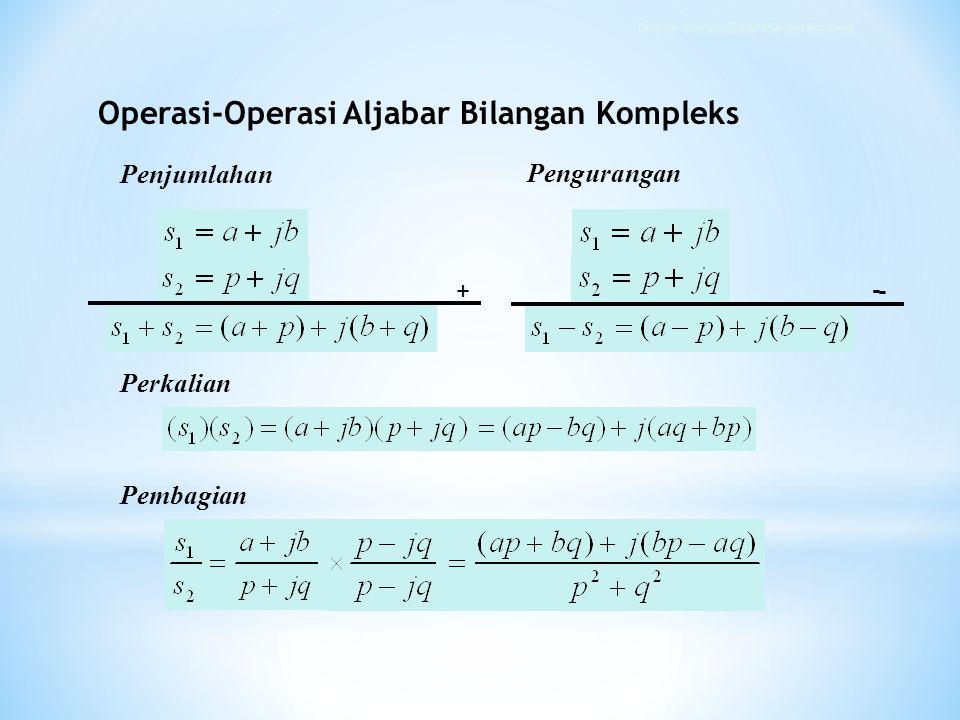 Penjumlahan Perkalian Pembagian + - - Pengurangan Operasi-Operasi Aljabar Bilangan Kompleks