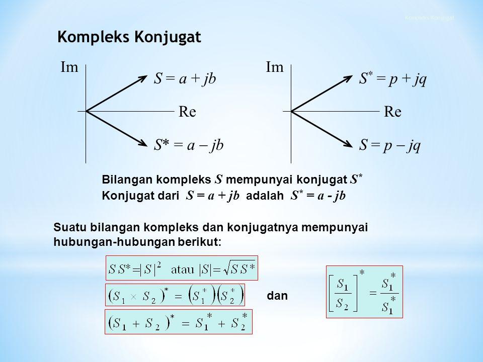 Suatu bilangan kompleks dan konjugatnya mempunyai hubungan-hubungan berikut: dan S = a + jb S* = a  jb Re Im Re Im Bilangan kompleks S mempunyai konj