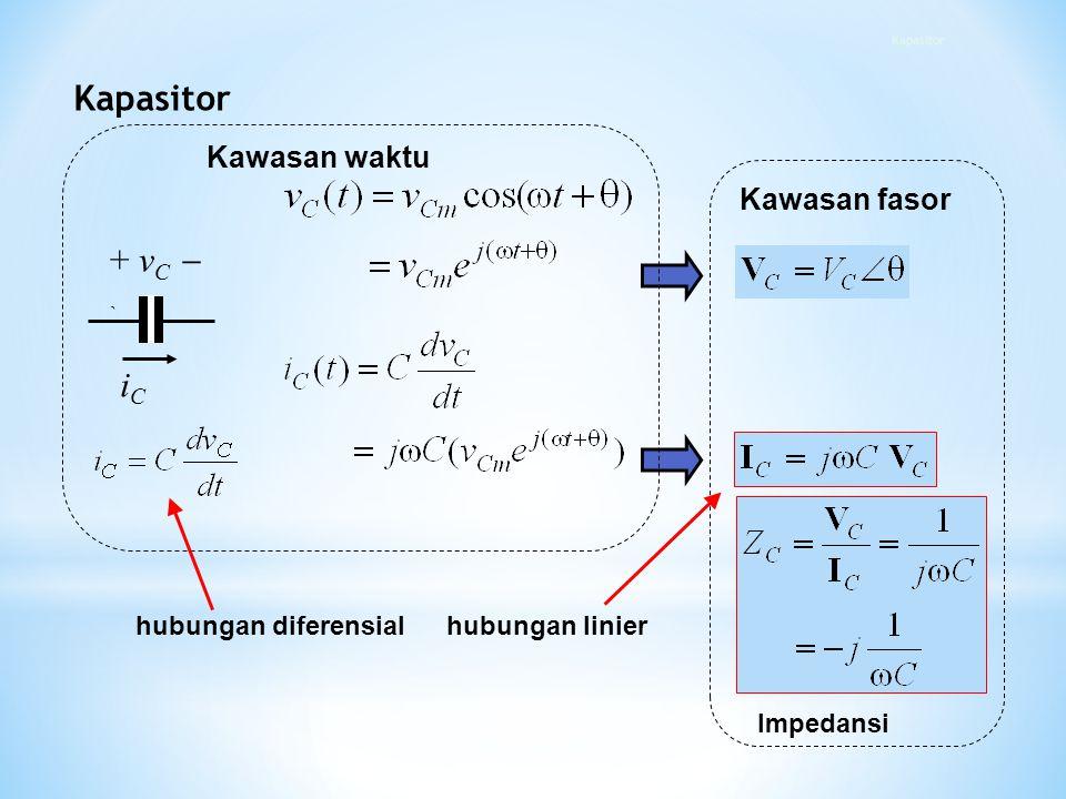 iCiC + v C  ` Kawasan fasor Impedansi Kawasan waktu hubungan diferensialhubungan linier Kapasitor