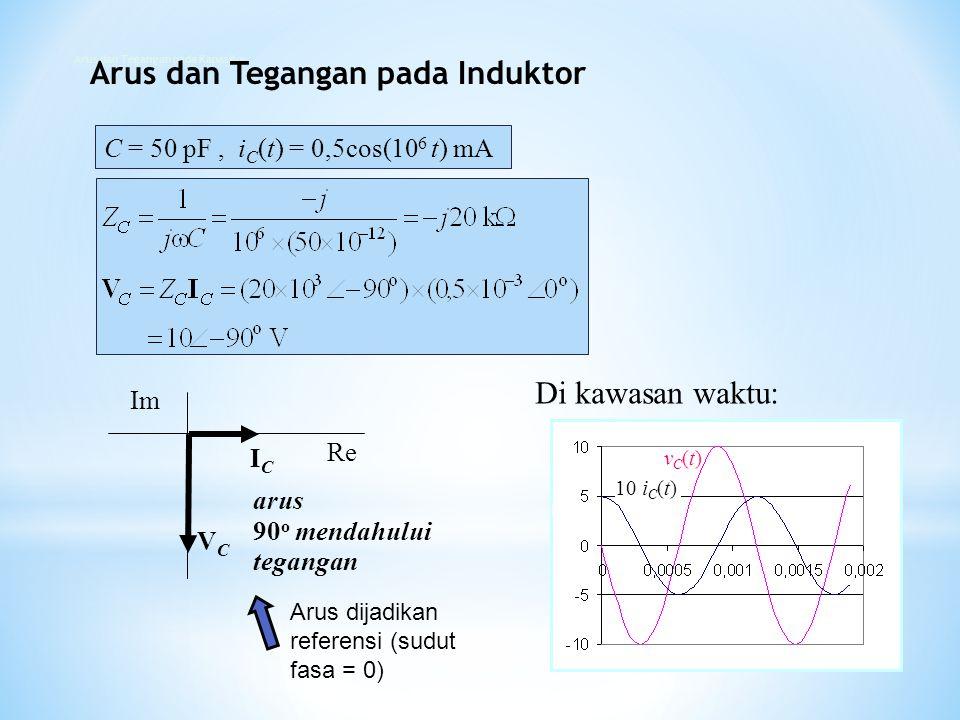 C = 50 pF, i C (t) = 0,5cos(10 6 t) mA ICIC VCVC Re Im arus 90 o mendahului tegangan Arus dijadikan referensi (sudut fasa = 0) detik Di kawasan waktu: