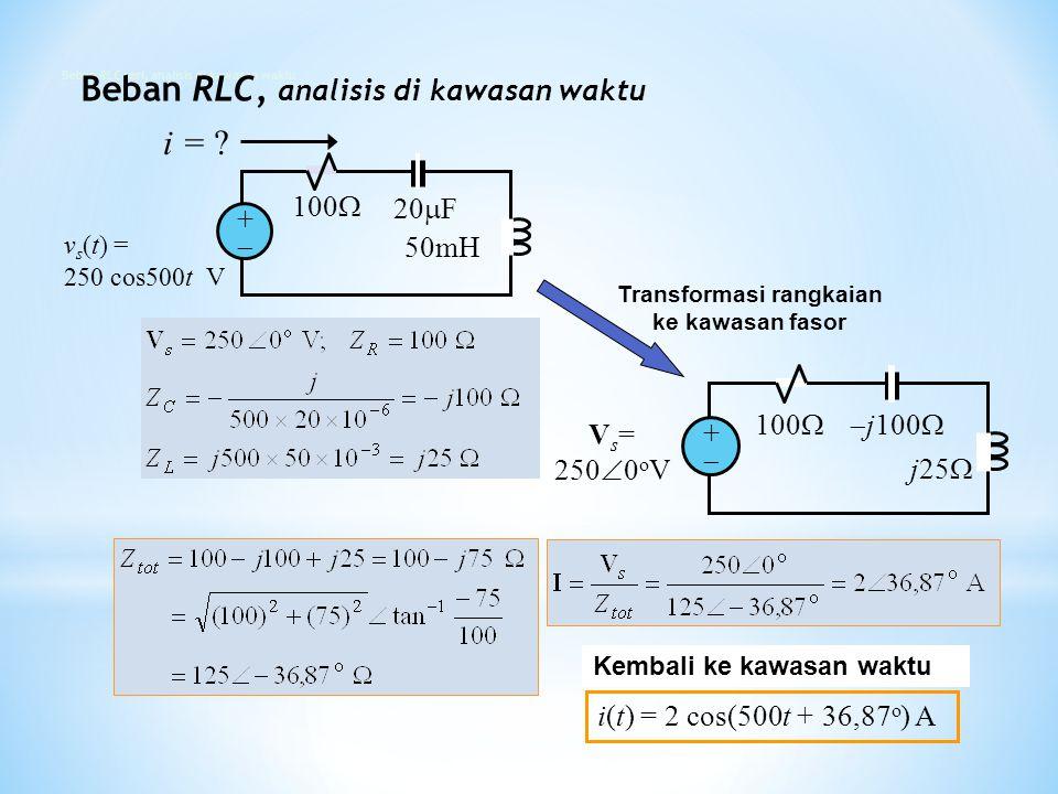 i(t) = 2 cos(500t + 36,87 o ) A Kembali ke kawasan waktu 100  j100  j25  V s = 250  0 o V ++ Transformasi rangkaian ke kawasan fasor 100  ++