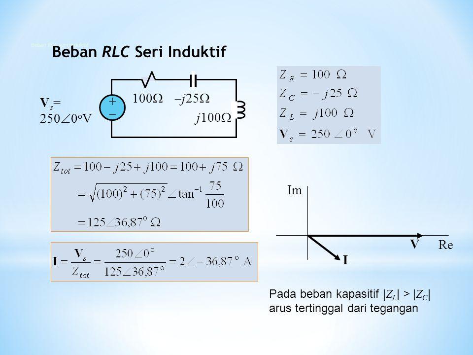 100  j25  j100  V s = 250  0 o V ++ I V Re Im Pada beban kapasitif | Z L | > | Z C | arus tertinggal dari tegangan Beban RLC Seri Induktif