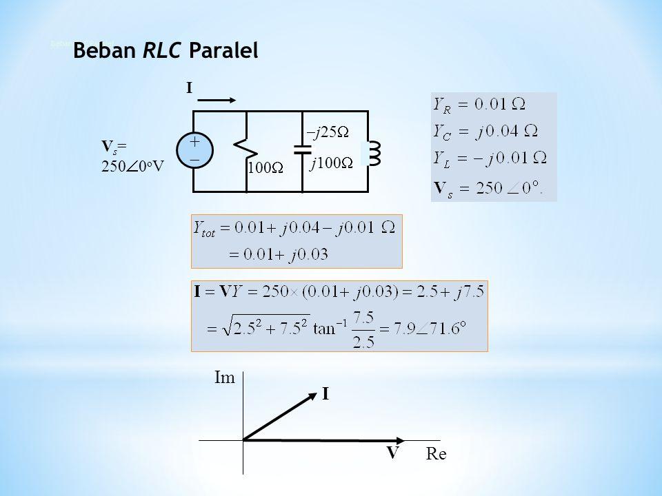 100   j25  j100  V s = 250  0 o V ++ I I V Re Im Beban RLC Paralel