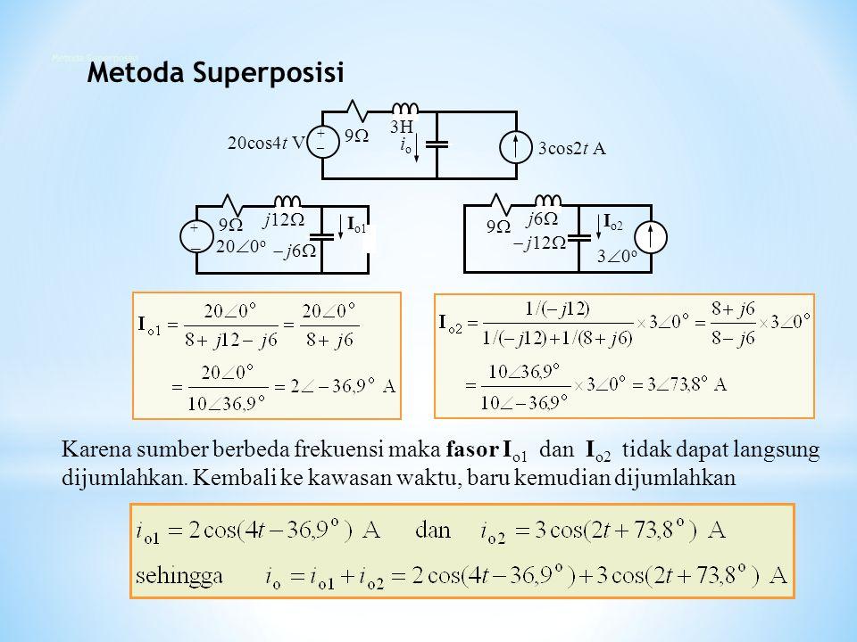 Karena sumber berbeda frekuensi maka fasor I o1 dan I o2 tidak dapat langsung dijumlahkan. Kembali ke kawasan waktu, baru kemudian dijumlahkan 20cos4t