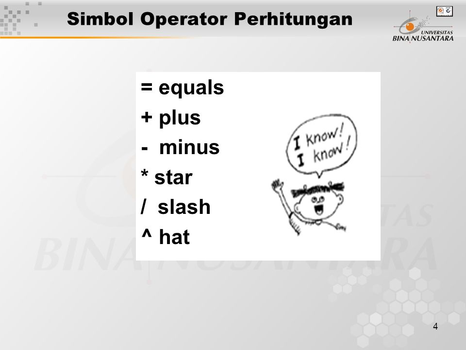 4 = equals + plus - minus * star / slash ^ hat Simbol Operator Perhitungan