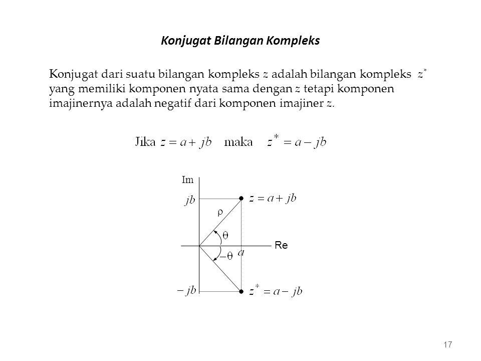 Konjugat Bilangan Kompleks 17 Konjugat dari suatu bilangan kompleks z adalah bilangan kompleks z * yang memiliki komponen nyata sama dengan z tetapi komponen imajinernya adalah negatif dari komponen imajiner z.