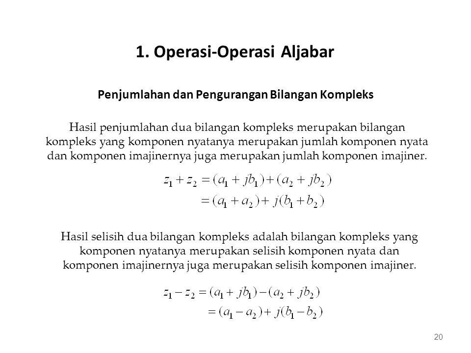 Penjumlahan dan Pengurangan Bilangan Kompleks 20 Hasil penjumlahan dua bilangan kompleks merupakan bilangan kompleks yang komponen nyatanya merupakan jumlah komponen nyata dan komponen imajinernya juga merupakan jumlah komponen imajiner.