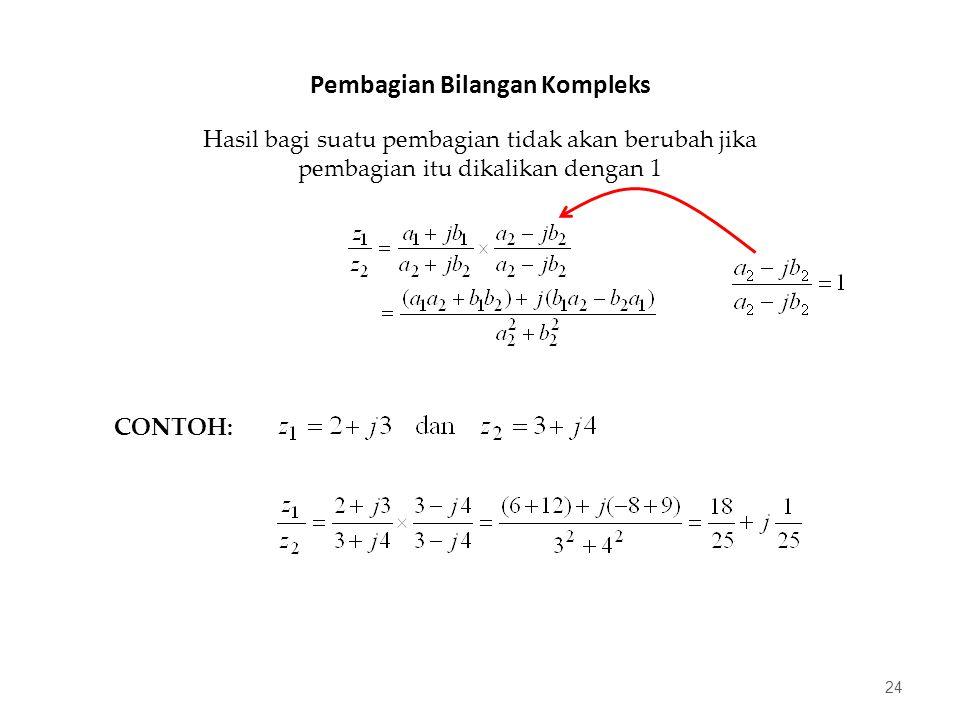 Pembagian Bilangan Kompleks 24 Hasil bagi suatu pembagian tidak akan berubah jika pembagian itu dikalikan dengan 1 CONTOH: