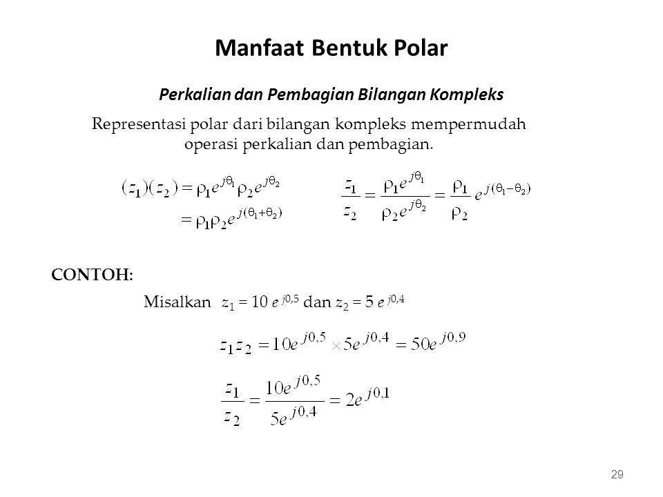 Perkalian dan Pembagian Bilangan Kompleks 29 Representasi polar dari bilangan kompleks mempermudah operasi perkalian dan pembagian.