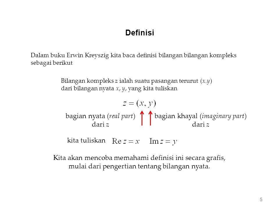 Definisi 5 Dalam buku Erwin Kreyszig kita baca definisi bilangan bilangan kompleks sebagai berikut Bilangan kompleks z ialah suatu pasangan terurut (x,y) dari bilangan nyata x, y, yang kita tuliskan Kita akan mencoba memahami definisi ini secara grafis, mulai dari pengertian tentang bilangan nyata.