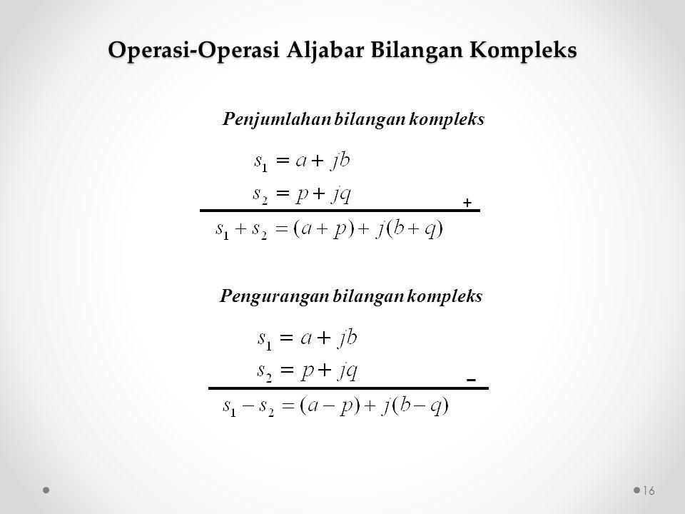Penjumlahan bilangan kompleks + - - Operasi-Operasi Aljabar Bilangan Kompleks Pengurangan bilangan kompleks 16