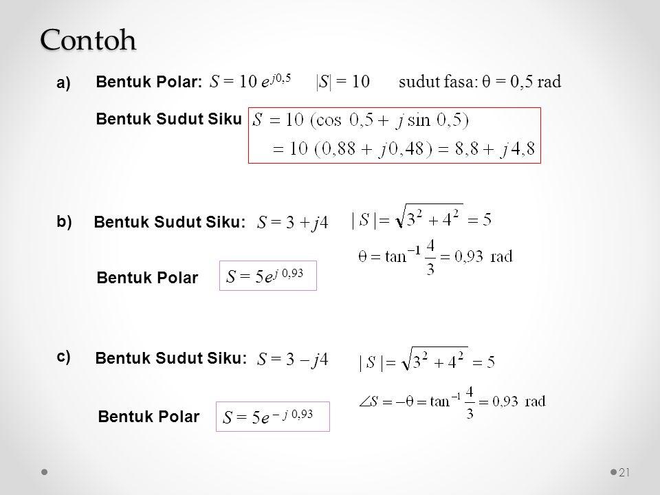 |S| = 10sudut fasa: θ = 0,5 radS = 10 e j0,5 Bentuk Polar: Bentuk Sudut Siku S = 3 + j4 Bentuk Sudut Siku: S = 5e j 0,93 Bentuk Polar S = 3  j4 Bentuk Sudut Siku: S = 5e  j 0,93 Bentuk Polar Contoh 21 a) b) c)