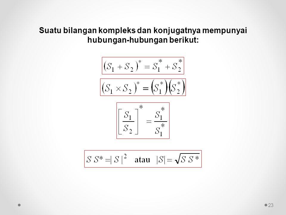 Suatu bilangan kompleks dan konjugatnya mempunyai hubungan-hubungan berikut: 23