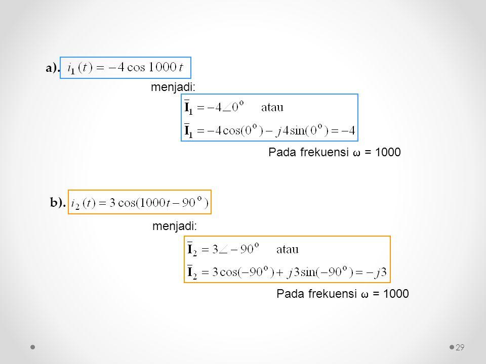 menjadi: Pada frekuensi  = 1000 29 b). a). Pada frekuensi  = 1000