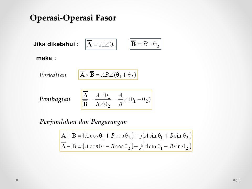 Perkalian Pembagian Penjumlahan dan Pengurangan Jika diketahui : maka : Operasi-Operasi Fasor 31
