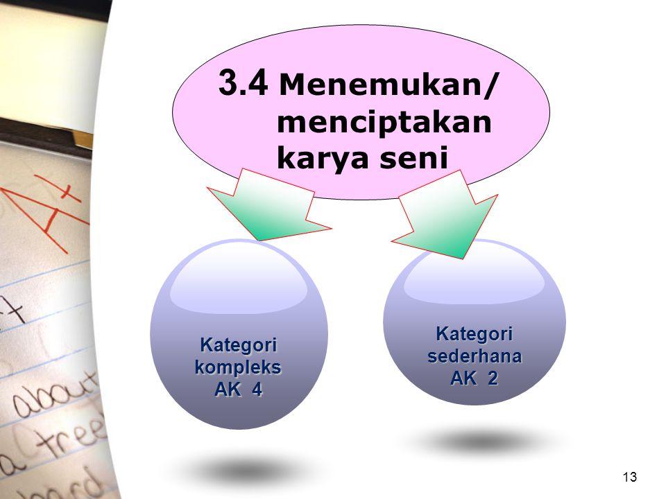 13 3.4 Menemukan/ menciptakan karya seni Kategori kompleks AK 4 Kategori sederhana AK 2