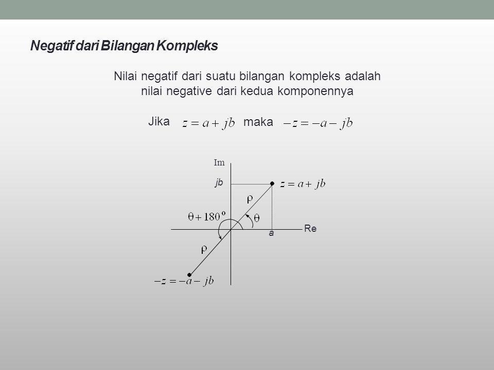 Negatif dari Bilangan Kompleks Nilai negatif dari suatu bilangan kompleks adalah nilai negative dari kedua komponennya Jika maka Re Im a jb