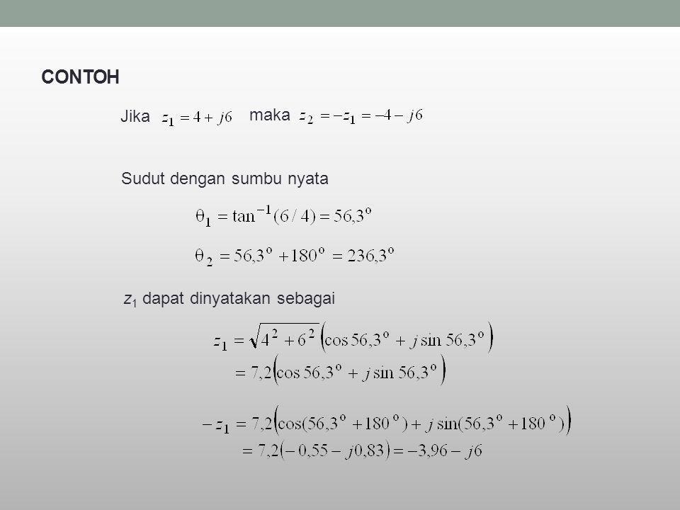 CONTOH Sudut dengan sumbu nyata z 1 dapat dinyatakan sebagai Jika maka