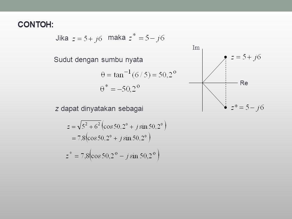 CONTOH: Jika maka Sudut dengan sumbu nyata z dapat dinyatakan sebagai Re Im