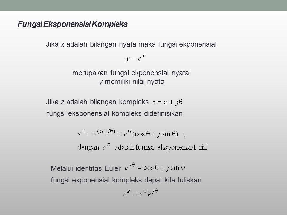 Fungsi Eksponensial Kompleks Jika x adalah bilangan nyata maka fungsi ekponensial merupakan fungsi ekponensial nyata; y memiliki nilai nyata Jika z ad