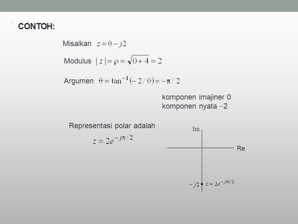 CONTOH: Misalkan Modulus Argumen komponen imajiner 0 komponen nyata  2 Representasi polar adalah. Re Im