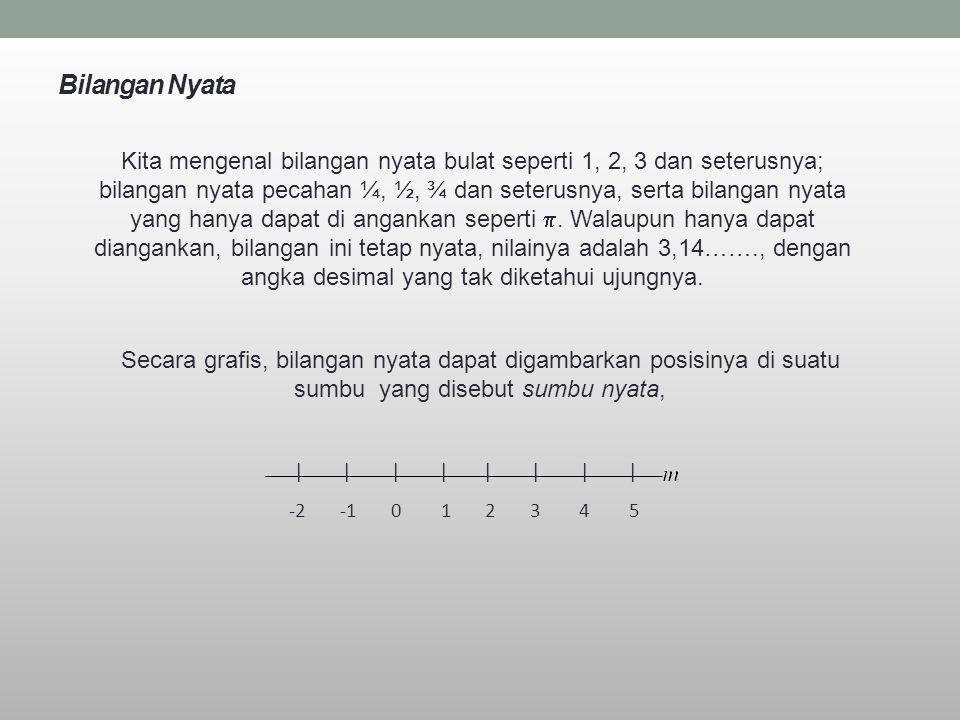 Bilangan Nyata Kita mengenal bilangan nyata bulat seperti 1, 2, 3 dan seterusnya; bilangan nyata pecahan ¼, ½, ¾ dan seterusnya, serta bilangan nyata