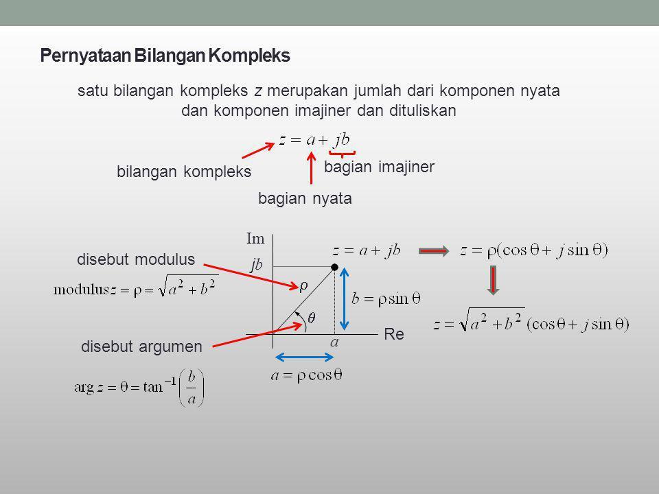 Pernyataan Bilangan Kompleks satu bilangan kompleks z merupakan jumlah dari komponen nyata dan komponen imajiner dan dituliskan bagian nyata bagian im