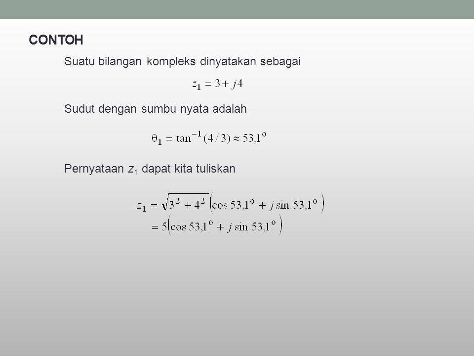 CONTOH Suatu bilangan kompleks dinyatakan sebagai Sudut dengan sumbu nyata adalah Pernyataan z 1 dapat kita tuliskan